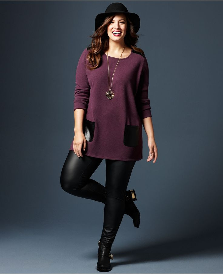 Fall Trend Report Plus Size Look Of Leather Sweater Leggings Look