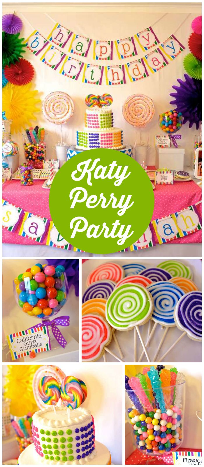 What A Cool Katy Perry Party It Has A Rainbow Candy Theme See More